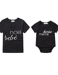billige Sett med familieklær-Baby Mamma og meg Bokstaver Kortermet Body