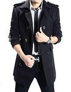 cheap Men's Clothing-Men's Daily / Going out Long Trench Coat, Contemporary Turndown Long Sleeve Polyester Black / Dark Gray XL / XXL / XXXL