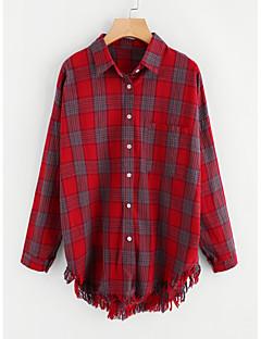 billige Kvinde Toppe-Dame - Ensfarvet / Stribet Bomuld Skjorte