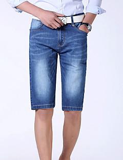 billige Herrebukser og -shorts-Herre Grunnleggende Store størrelser Bomull Tynn Jeans / Shorts Bukser Ensfarget / Sport / Helg