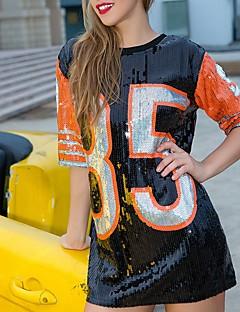 baratos Tops-Mulheres Camiseta Activo / Básico Paetês / Patchwork, Letra