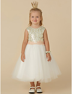 Χαμηλού Κόστους Φορέματα Καλλιστείων-Πριγκίπισσα Κάτω από το γόνατο Φόρεμα για Κοριτσάκι Λουλουδιών - Τούλι / Με πούλιες Αμάνικο Με Κόσμημα με Πούλιες / Φιόγκος(οι) με LAN TING BRIDE®