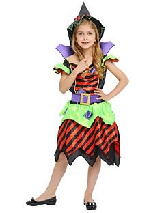 billige Barnekostymer-Trollmann / heks Kostume Jente Barn Halloween Halloween Karneval Barnas Dag Festival / høytid Drakter Regnbue Ensfarget Halloween