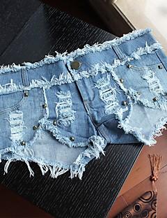 billige Herrebukser og -shorts-Dame Aktiv / Grunnleggende Jeans / Shorts Bukser Ensfarget BLå & Hvit