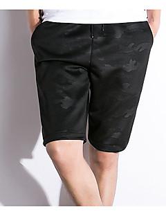 billige Herrebukser og -shorts-Herre Aktiv Store størrelser Bomull / Lin Harem / Shorts Bukser - Flettet, Ensfarget Svart og hvit