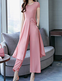 cheap New Arrivals-Women's Street chic / Sophisticated Set - Solid Colored, Split Pant