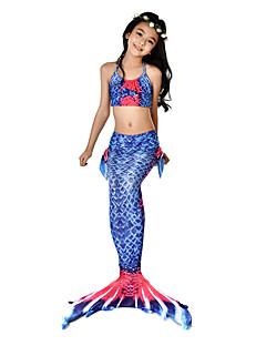 baratos Fantasias de Crianças-The Little Mermaid Bikini / Ocasiões Especiais Para Meninas Dia Das Bruxas / Carnaval Festival / Celebração Trajes da Noite das Bruxas Tinta Azul sereia Vintage
