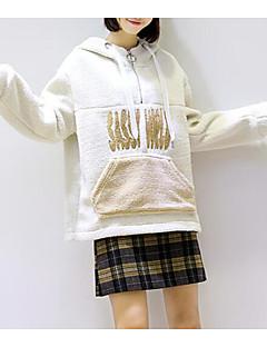 baratos Moletons com Capuz e Sem Capuz Femininos-hoodie de manga comprida para mulher - carta / bloco de cor com capuz