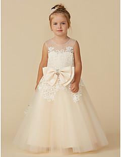 billige Bryllupsbutikken-A-linje Gulvlang Blomsterpikekjole - Blonder / Tyll Ermeløs Besmykket med Perlearbeid / Sløyfe(r) av LAN TING BRIDE®