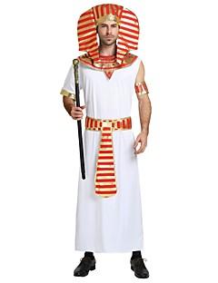 billige Halloweenkostymer-Egyptiske Kostymer Kostume Herre Halloween Karneval Maskerade Festival / høytid Halloween-kostymer Drakter Hvit Ensfarget Stripet Halloween Halloween