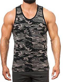 cheap New Arrivals-Men's Basic Cotton Tank Top - Color Block Print / Sleeveless