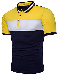 hesapli Erkek Polo Tişörtleri-Erkek Pamuklu Gömlek Yaka Polo Kırk Yama, Zıt Renkli Temel / Kısa Kollu / Yaz