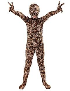 billige Zentai-mønstret Zentai Drakter Cosplay Kostumer Zentai Cosplay-kostymer Brun Leopard Dyremønster Spandex Lykra Elastisk Unisex Halloween Karneval Barnas Dag / Høy Elastisitet