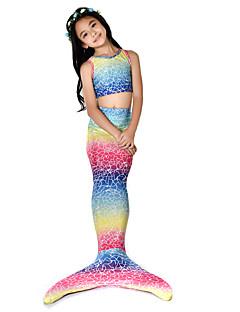 baratos Fantasias de Crianças-The Little Mermaid Bikini / Ocasiões Especiais Para Meninas Dia Das Bruxas / Carnaval Festival / Celebração Trajes da Noite das Bruxas Arco-íris sereia Vintage