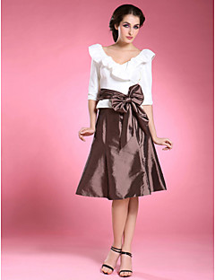 Two Piece V Neck Knee Length Taffeta Mother Of The Bride Dress With Bow S Sash Ribbon By Lan Ting