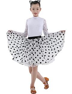 billige Danseklær til barn-Latin Dans Drakter Jente Trening Blonder / Organza Blonder Langermet Naturlig Skjørt / Trikot / Heldraktskostymer