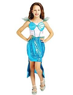 billige Halloweenkostymer-Prinsesse Drakter Jente Halloween / Karneval / Barnas Dag Festival / høytid Halloween-kostymer Turkis Ensfarget / Halloween Halloween