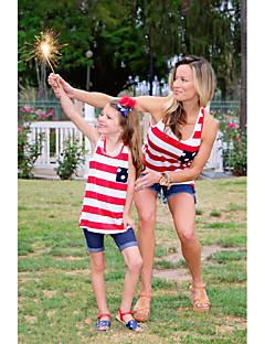 billige Sett med familieklær-Voksen / Barn / Baby Mamma og meg Stripet Ermeløs T-skjorte