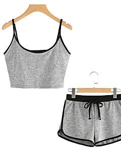 baratos Pijamas Femininos-Mulheres Algodão Decote U Conjunto Completo Pijamas - Frente Única, Sólido / Verão