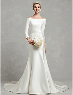 A Line Bateau Neck Chapel Train Satin Made To Measure Wedding Dresses With Bow S Sash Ribbon By Lan Ting Bride
