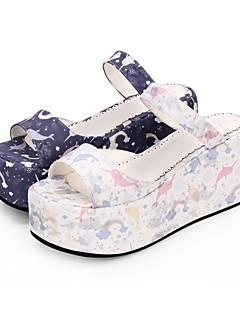 Χαμηλού Κόστους Μόδα Λολίτα-Παπούτσια Γλυκιά Λολίτα Princess Lolita Τακούνι Σφήνα Παπούτσια Μοτίβο 8 cm CM Λευκό / Βυσσινί Για PU