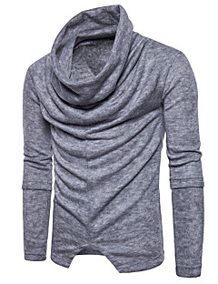 baratos Suéteres & Cardigans Masculinos-Homens Pulôver - Sólido, Franzido