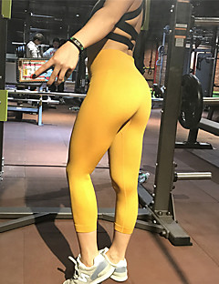 billige Trening, fitness og yoga-Dame Sexy Yogabukser - Grå, Rosa, Lyseblå sport Helfarge Spandex 3/4 Tights Løp, Trening, Dans Sportsklær Fukt Wicking, Anatomisk design, Pustende Høy Elastisitet