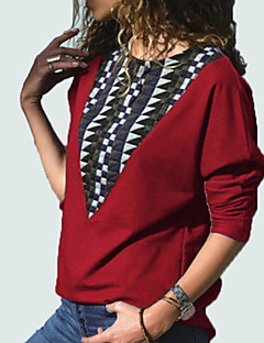 tanie Damskie bluzy z kapturem-damska bluza z długim rękawem - kolor bloku wokół szyi