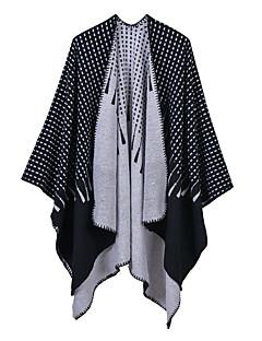 baratos Cachecóis da Moda-Mulheres Básico / Férias Retângular - Fenda Geométrica / Estampado / Estampa Colorida Preto e Vermelho