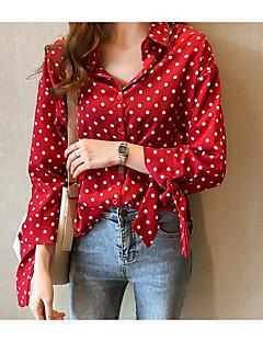 Χαμηλού Κόστους Μπλούζα-γυναικεία μπλούζα διακοπών - κολάρο πουκάμισο polka dot