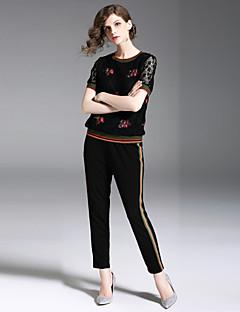economico Completi due pezzi da donna-Per donna Attivo / Moda città Polo - Con ricami, Fantasia floreale Pantalone