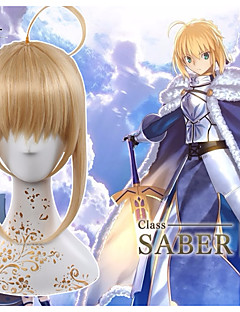billige Anime cosplay-Cosplay Parykker Fate / Stay Night Saber Gylden Anime Cosplay-parykker 14 tommers Varmeresistent Fiber Unisex Halloween-parykker