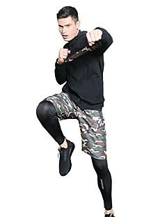 billiga Träning-, jogging- och yogakläder-Herr Dragkedja 3pcs Yoga Suit - Svart, Armégrön, Kamoflage sporter Tryck Elastan Hög midja Shorts / Jacka / Cykling Tights Löpning, Fitness, Träna Långärmad Sportkläder Snabb tork, Svettavvisande