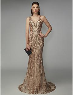 Χαμηλού Κόστους Φορέματα Ξεχωριστών Γεγονότων-Τρομπέτα / Γοργόνα Λαιμόκοψη V Ουρά Με πούλιες Φανταχτερό Επίσημο Βραδινό Φόρεμα με Πούλιες με TS Couture®