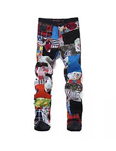 billige Herrebukser og -shorts-Herre Punk & Gotisk / overdrevet Jeans Bukser Fargeblokk / Ruter