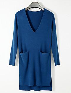 tanie Swetry damskie-Damskie Bawełna Pulower Jendolity kolor Długi rękaw