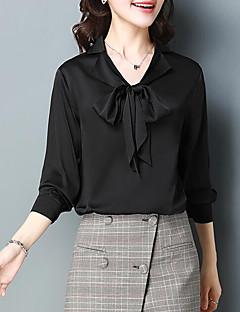 billige Skjorte-V-hals Dame - Ensfarvet I-byen-tøj Skjorte