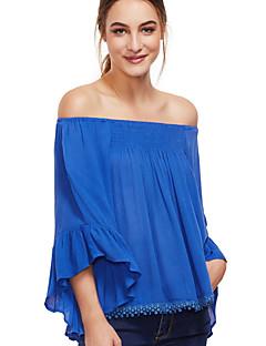 billige Bluse-Dame - Ensfarvet Flettet Basale Bluse