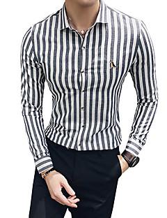 billige Herremote og klær-menn går ut slank skjorte - farge blokk / stripet klassisk krage