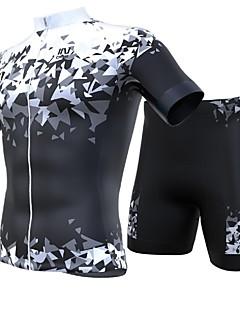 billige Sykkelklær-INBIKE Herre Kortermet Sykkeljersey med shorts - Svart / Hvit Sykkel Klessett, Fort Tørring, Pustende Spandex, Lycra Geometri / Italia Importert blekk
