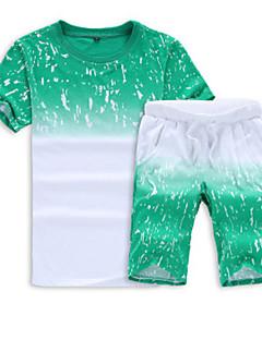 baratos Abrigos e Moletons Masculinos-Homens Esportes Manga Curta activewear Set Geométrica Decote Redondo