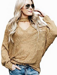 tanie Swetry damskie-Damskie Codzienny Solidne kolory Długi rękaw Luźna Regularny Pulower, Kołnierz stawiany Wiosna / Jesień Żółtobrązowy / Wino M / L / XL