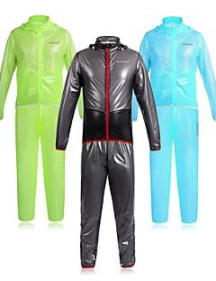 billige Sykkelklær-WOSAWE Herre Sykkeljakke med bukser Sykkel Klessett Vanntett, Refleksbånd Ensfarget Svart / Grønn / Blå Sykkelklær