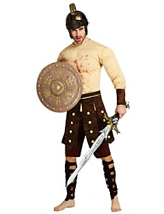billige Halloweenkostymer-Soldat / Kriger Kostume Herre Voksen Halloween Halloween Karneval Maskerade Festival / høytid Drakter Beige Ensfarget Halloween