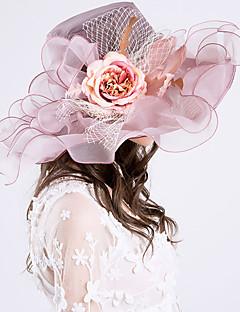 billige Hatter til damer-Dame Vintage / Ferie Bøttehatt / Solhatt - Drapering / Netting, Ensfarget / Blomstret