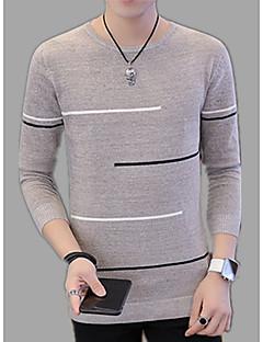 baratos Suéteres & Cardigans Masculinos-Homens Pulôver - Sólido / Listrado, Estampado