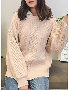 baratos Suéteres de Mulher-Mulheres Manga Longa Pulôver - Estampa Colorida / Com Capuz