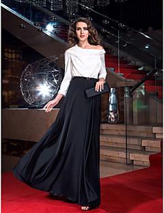 billiga Aftonklänningar-A-linje Off shoulder Golvlång Chiffong / Satäng Färgblock Bal Klänning med Plisserat av TS Couture®