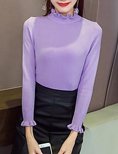 baratos Suéteres de Mulher-Mulheres Manga Longa Pulôver - Sólido / Colarinho Chinês