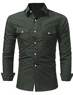 billige Herremote og klær-Bomull Tynn Skjorte Herre - Ensfarget / Langermet